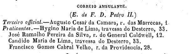 Correio Ambulante (Almanaque Laemmert 1876)